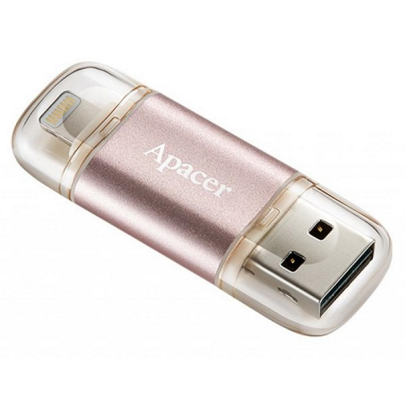 Flesh kart Usb Apacer 64 GB  USB 3.1 Gen1 Lightning AH190 Rose Gold (IOS & Mac) (2)
